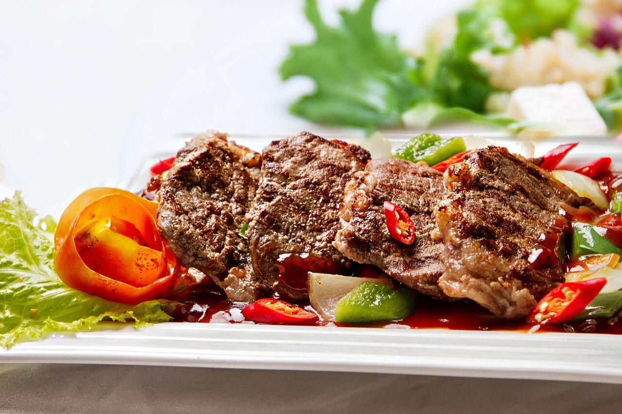 Does a High Protein Diet Really Help with Weight Loss? meat on a plate with peppers and chillis
