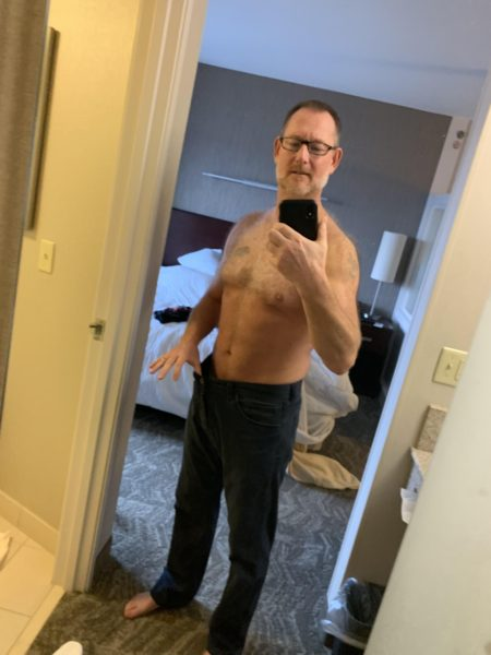 Brad's fit picture in front of mirror